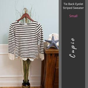 Cupio   Crewneck Tie Back Eyelet Striped Sweater